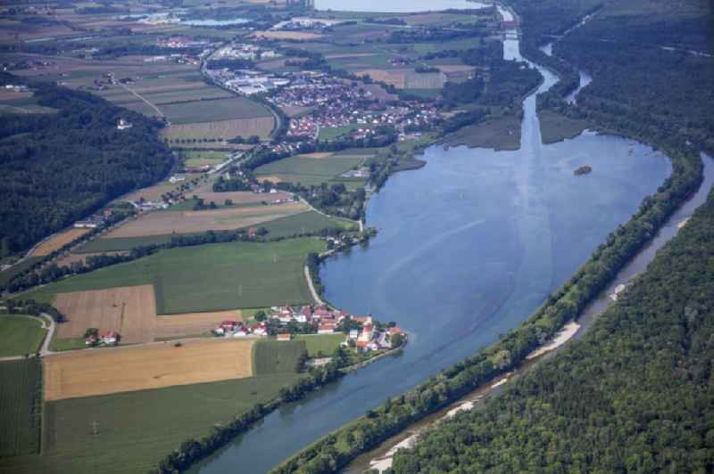 View of the course of the canal and the bank areas of the Mittlere-Isar-Canal and the Echinger reservoir and the Isar with a view of Eching and Weixerau in the state Bavaria, Germany