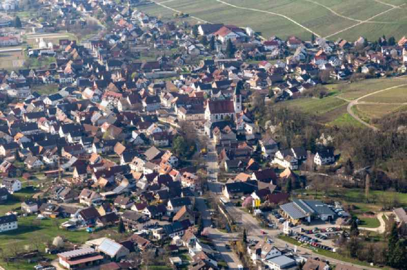 Town View of the streets and houses of the residential areas in Ehrenstetten in the state Baden-Wurttemberg, Germany.