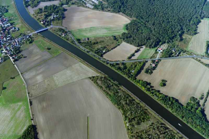Riparian zones on the course of the river of Elbe-Havel-Kanal in Elbe-Parey in the state Saxony-Anhalt, Germany