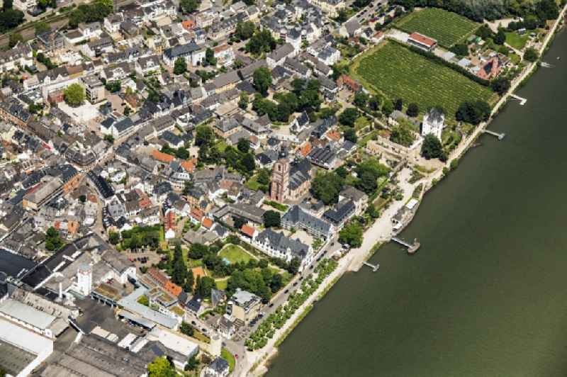 City view on the river bank of the Rhine river in Eltville am Rhein in the state Hesse, Germany.