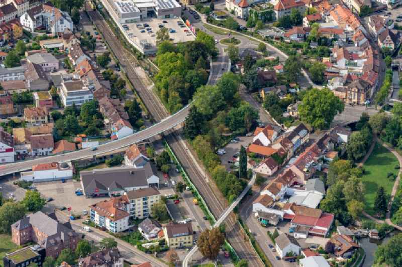 Ride a train on the track in Emmendingen in the state Baden-Wuerttemberg, Germany