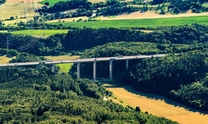 Routing and traffic lanes over the highway bridge in the motorway A Talbach Bruecke on A81 in Engen in the state Baden-Wuerttemberg, Germany
