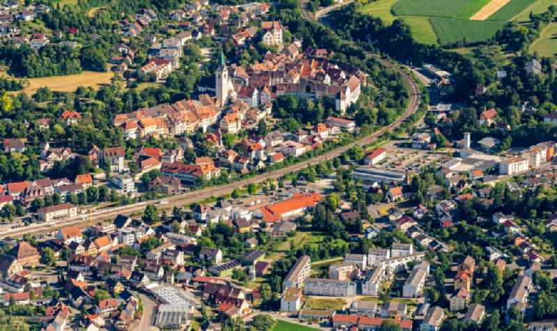 Old Town area and city center in Engen in the state Baden-Wuerttemberg, Germany