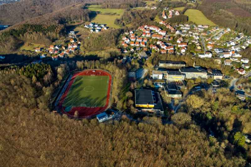 Sports grounds and football pitch at the 'Staedtisches Reichenbach-Gymnasium Ennepetal' in the Peddinghausstrasse in Ennepetal in the state North Rhine-Westphalia