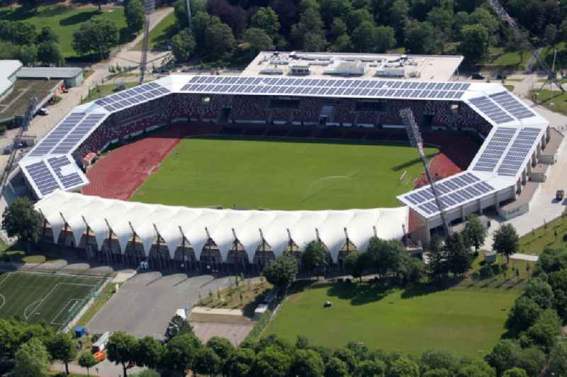 Site of the Arena stadium Steigerwaldstadion in Erfurt in Thuringia. Further information at: CENO Membrane Technology GmbH,  Koester GmbH,  TSG 1899 Hoffenheim Fussball-Spielbetriebs GmbH.