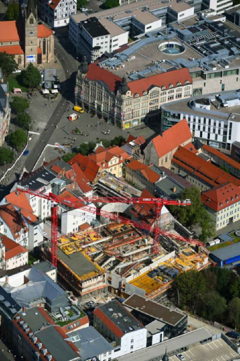 New construction of the building complex of the shopping center Anger-Passage on Reglermauer in the district Altstadt in Erfurt in the state Thuringia, Germany