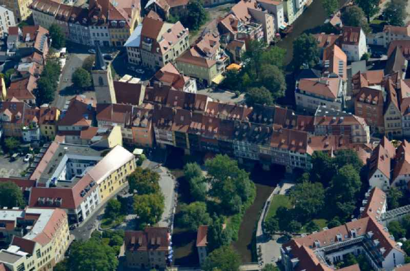 Old Town area and city center ' Kraemerbruecke ' in Erfurt in the state Thuringia, Germany