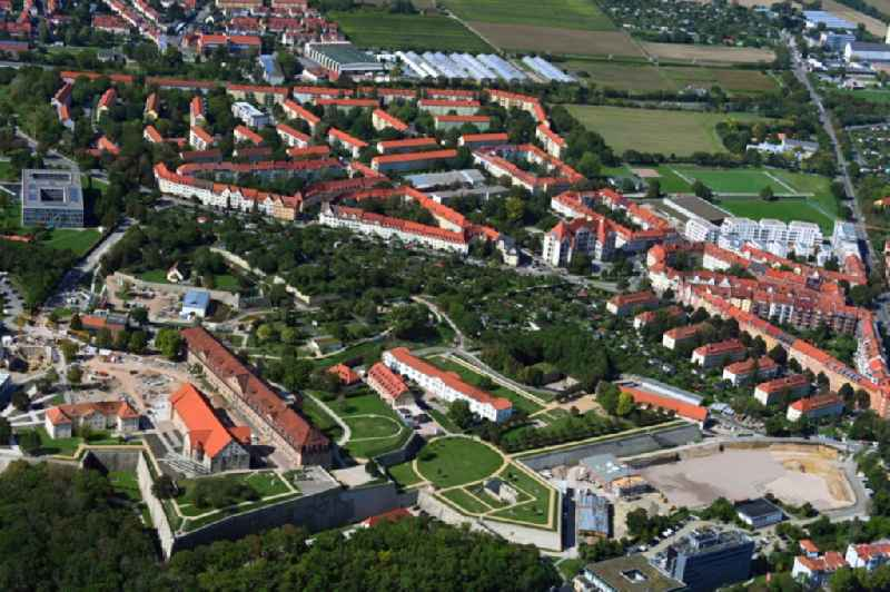 Conversion to the Federal Garden Show on Fragments of the fortress ' Petersberg ' in the district Altstadt in Erfurt in the state Thuringia, Germany