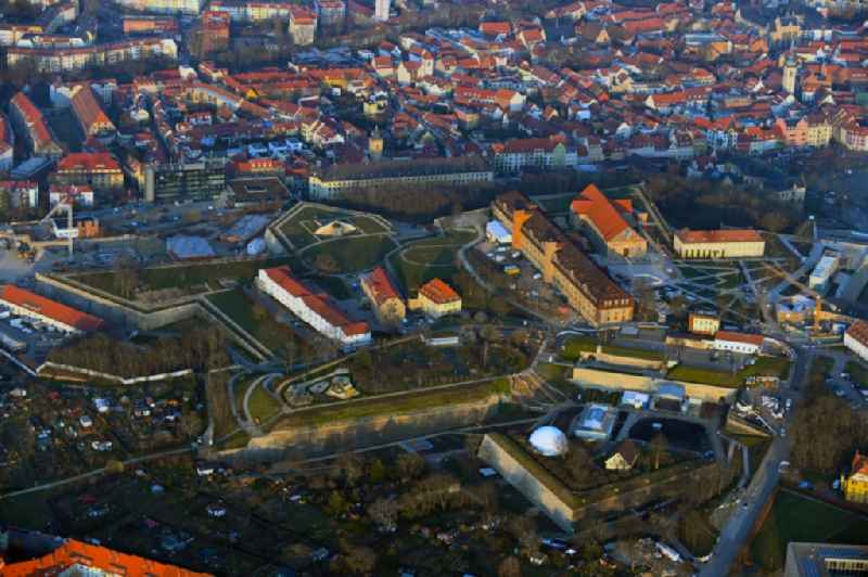 Fragments of the fortress ' Zitadelle Petersberg ' in Erfurt in the state Thuringia, Germany