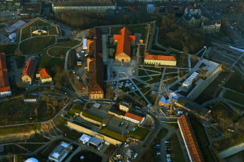 Conversion to the Federal Garden Show on Fragments of the fortress 'Petersberg' with the new construction of the 'Petersberg Entree' in the district Altstadt in Erfurt in the state Thuringia, Germany