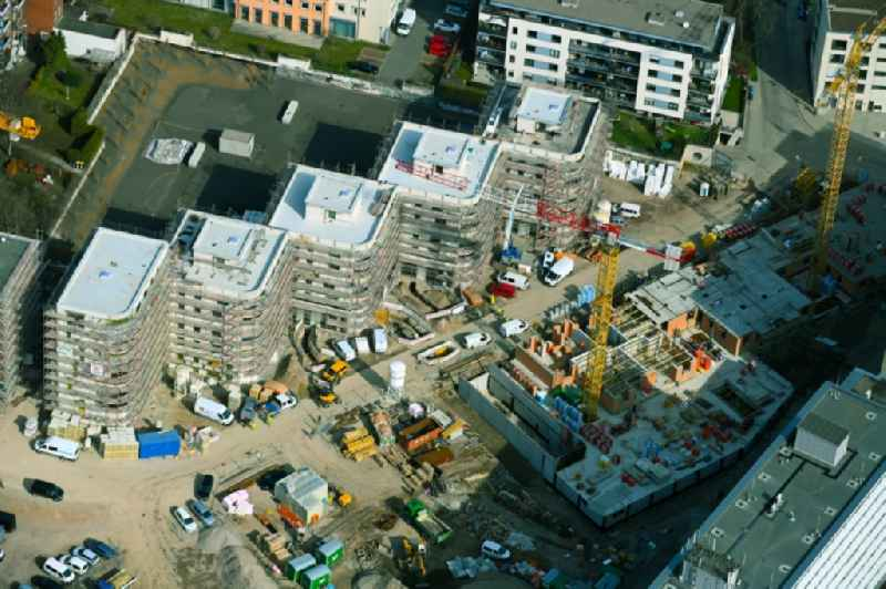 Residential construction site with multi-family housing development- on the on Warsbergstrasse in the district Bruehlervorstadt in Erfurt in the state Thuringia, Germany