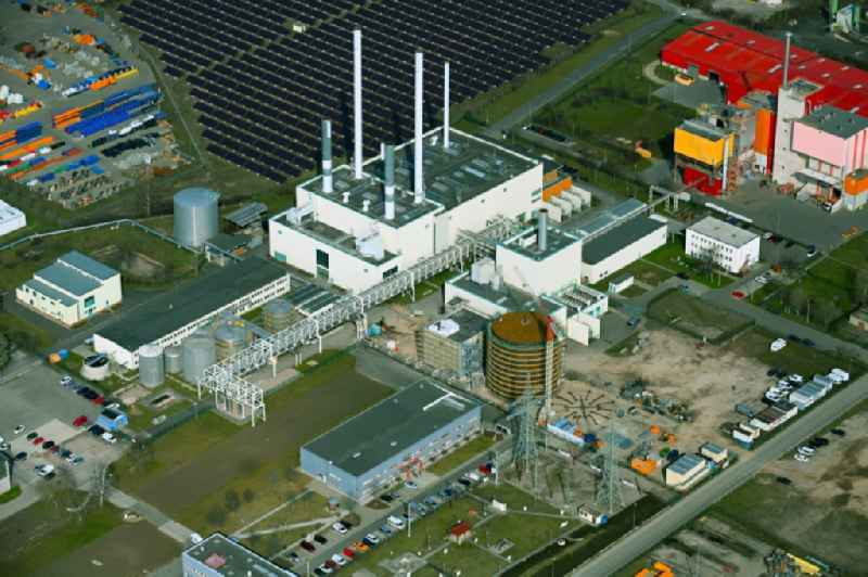 Power plants and exhaust towers of Waste incineration plant station ' Restabfallbehandlungsanlage (TUS Leitwarte) ' in the district Hohenwinden in Erfurt in the state Thuringia, Germany