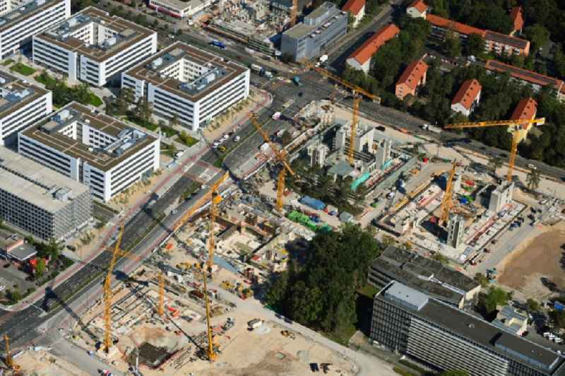 New building construction site in the industrial park ' Siemens- Campus ' in the district Bruck in Erlangen in the state Bavaria, Germany