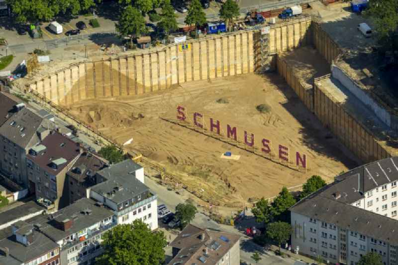 Art installation 'cuddle' in an excavation in the city of Essen in North Rhine-Westphalia.