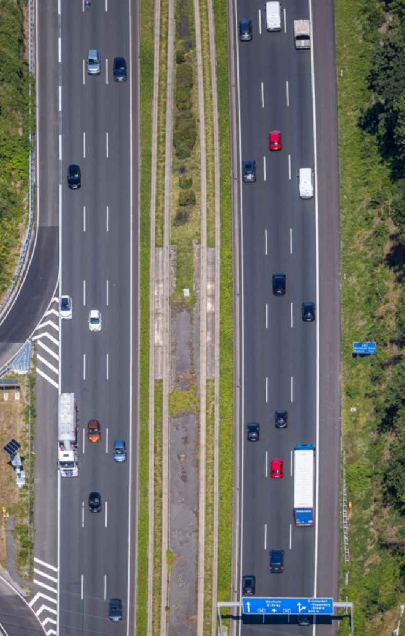 Lanes of the motorway- route and course of the A40 in the district Frillendorf in Essen in the state North Rhine-Westphalia, Germany