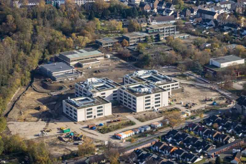New construction site of the school building of Gustav-Heinemann-Schule along the Schonnebeckhoefe in Essen in the state North Rhine-Westphalia, Germany