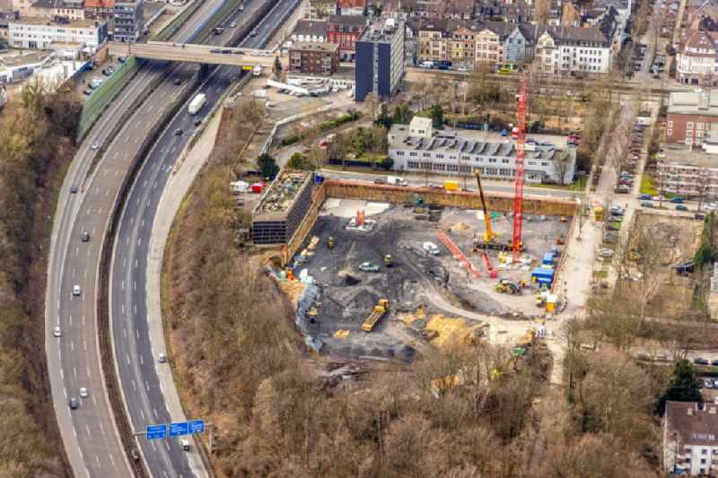 Residential area construction site with multi-family housing estate on the corner of Manfredstrasse - Ursulastrasse in the Ruettenscheid district in Essen in the Ruhr area in the state North Rhine-Westphalia, Germany