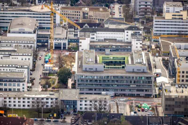 Construction site for a new extension to the hospital grounds Universitaetsklinikum Essen in Essen at Ruhrgebiet in the state North Rhine-Westphalia, Germany