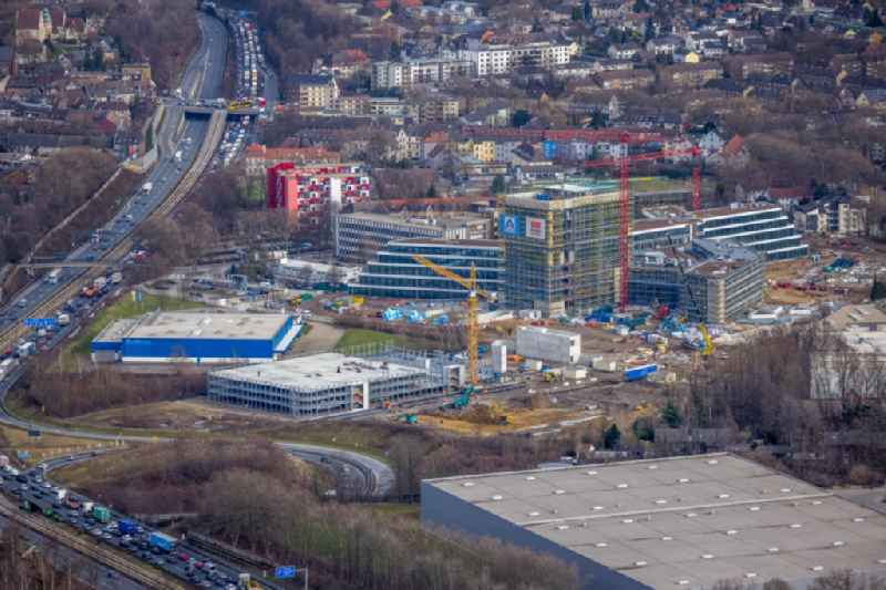 New construction of the company administration building ALDI-Nord Campus on Eckenbergstrasse in Essen at Ruhrgebiet in the state North Rhine-Westphalia, Germany