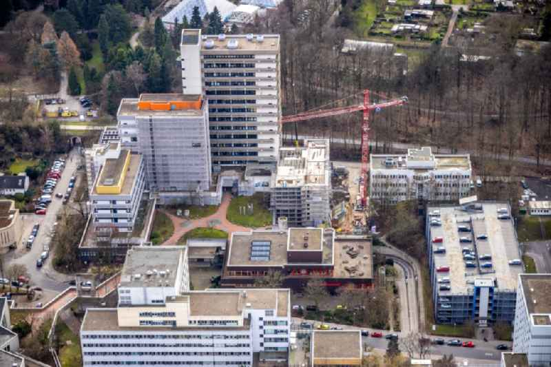 Construction site for a new extension to the hospital grounds 'Universitaetsklinik Essen' on Virchowstrasse in the district Holsterhausen in Essen at Ruhrgebiet in the state North Rhine-Westphalia, Germany