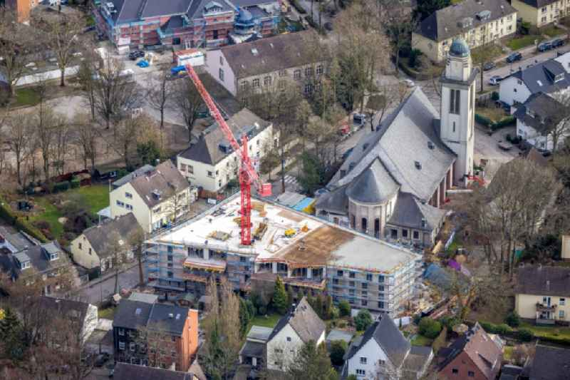 Construction site for renovation and reconstruction work on the church building St. Marienkirche for new apartments on Buschstrasse in the district Steele in Essen at Ruhrgebiet in the state North Rhine-Westphalia, Germany