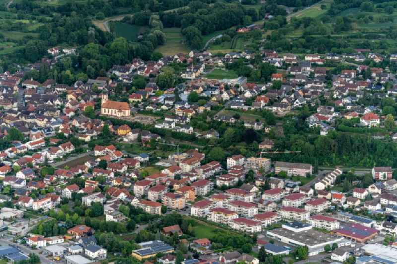Town View of the streets and houses of the residential areas in Ettenheim in the state Baden-Wuerttemberg, Germany