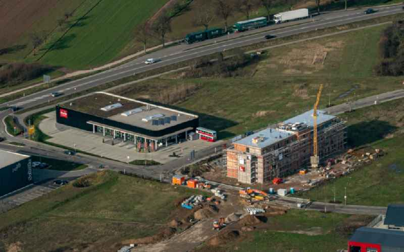 New building construction site in the industrial park Radackern along the Bundesstrasse 3 in Ettenheim in the state Baden-Wurttemberg, Germany