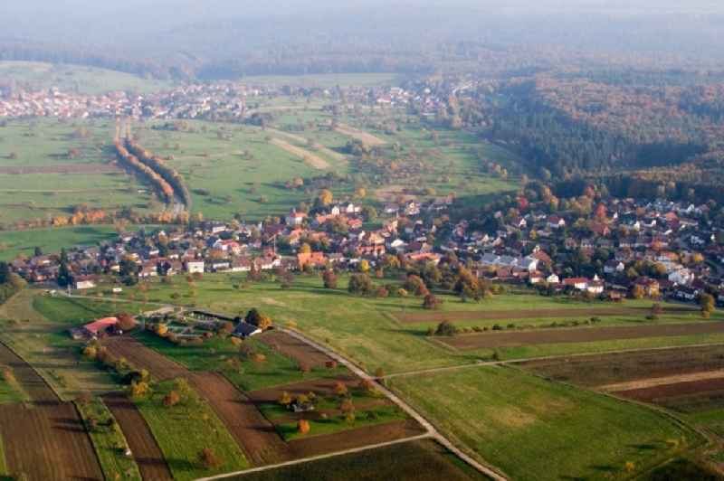 Village - view on the edge of agricultural fields and farmland in the district Schluttenbach in Ettlingen in the state Baden-Wuerttemberg, Germany