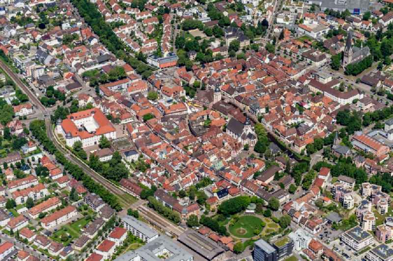 Town View of the streets and houses of the residential areas in Ettlingen in the state Baden-Wuerttemberg, Germany