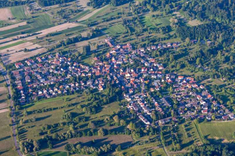 Town View of the streets and houses of the residential areas in the district Oberweier in Ettlingen in the state Baden-Wuerttemberg, Germany