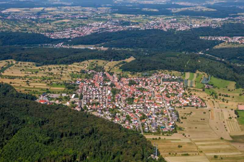 Village - view on the edge of agricultural fields and farmland in Ettlingen in the state Baden-Wurttemberg, Germany