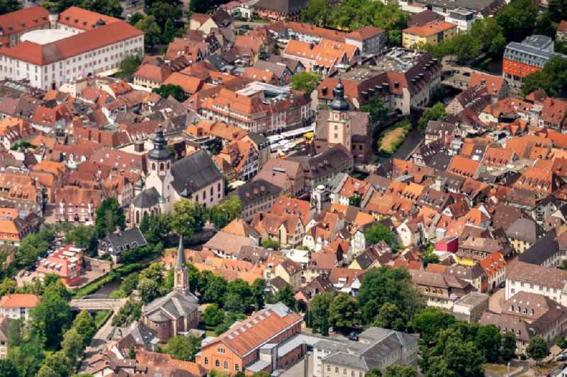 City view on down town in Ettlingen in the state Baden-Wurttemberg, Germany