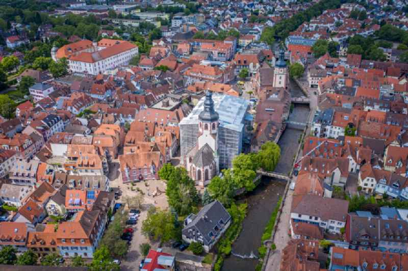 Church building of the cathedral in the old town in Ettlingen in the state Baden-Wuerttemberg, Germany