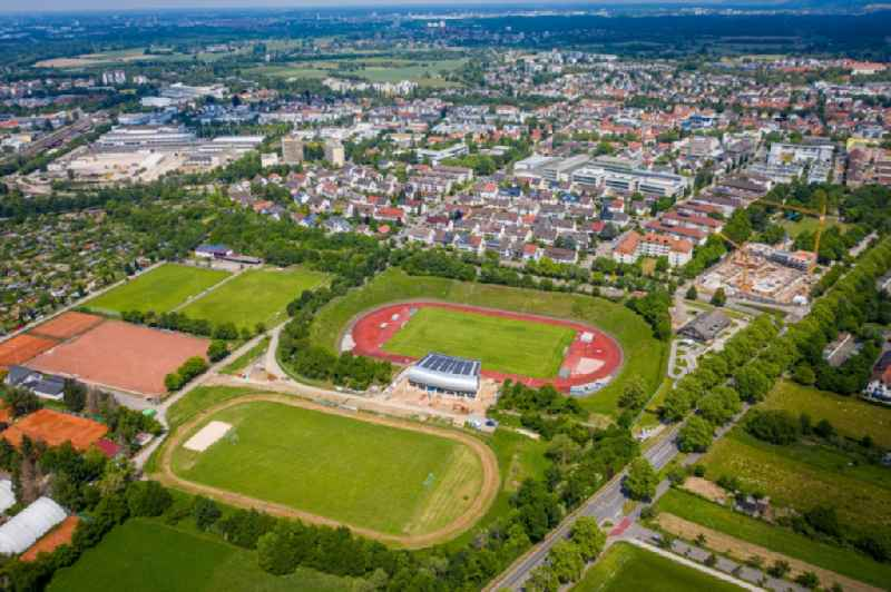 Football stadium in Ettlingen in the state Baden-Wuerttemberg, Germany