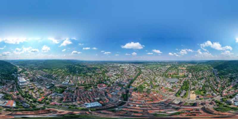 Circumferential , horizontally adjustable 360 degree perspective city view on down town in Ettlingen in the state Baden-Wurttemberg, Germany