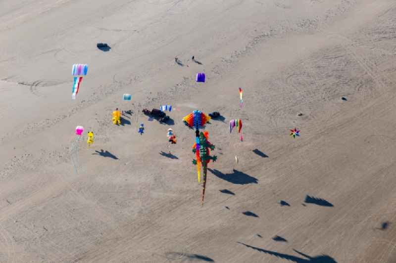 Coulourful Kites over the Beach along the West coast of Northsea island in Fanoe in, Denmark