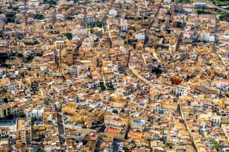 Town View of the streets and houses of the residential areas in the city in Felanitx in Balearische Insel Mallorca, Spain
