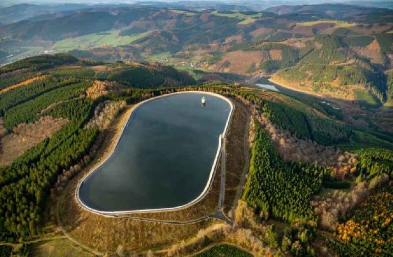 Impoundment and shore areas at the lake of Pumpspeicherwerk Roenkhausen in Finnentrop in the state North Rhine-Westphalia, Germany.