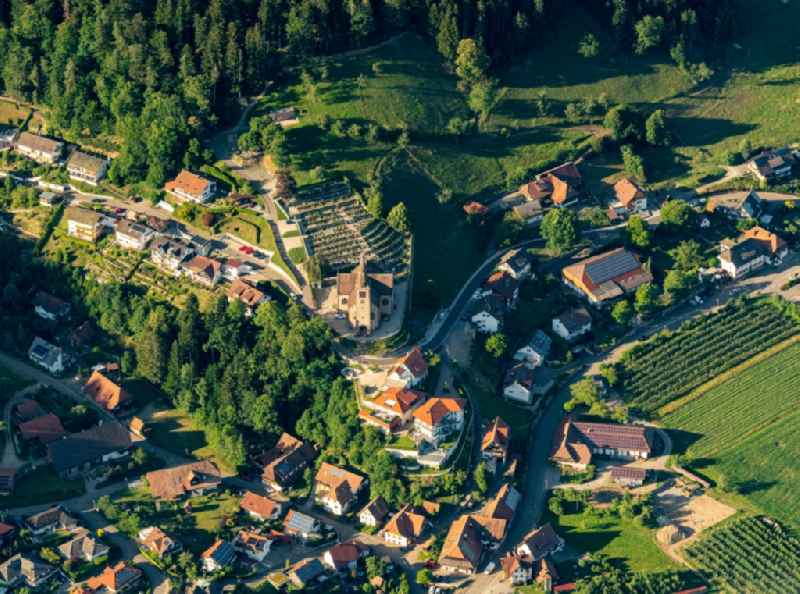 Town View of the streets and houses of the residential areas in Fischerbach in the state Baden-Wuerttemberg, Germany