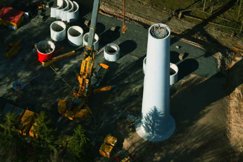 Construction site for wind turbine installation in a forest area in Floersbachtal in the state Hesse, Germany