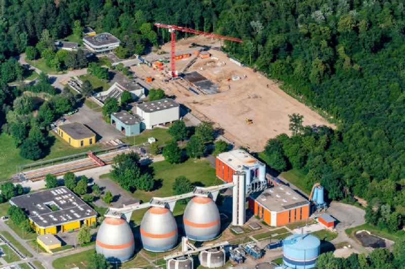 New construction site and extension of the sewage treatment basins and purification stages in Forchheim in the state Baden-Wurttemberg, Germany
