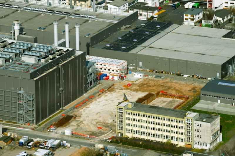 Construction site of data center building and online data processing hub on Friesstrasse - Kruppstrasse in the district Seckbach in Frankfurt in the state Hesse, Germany