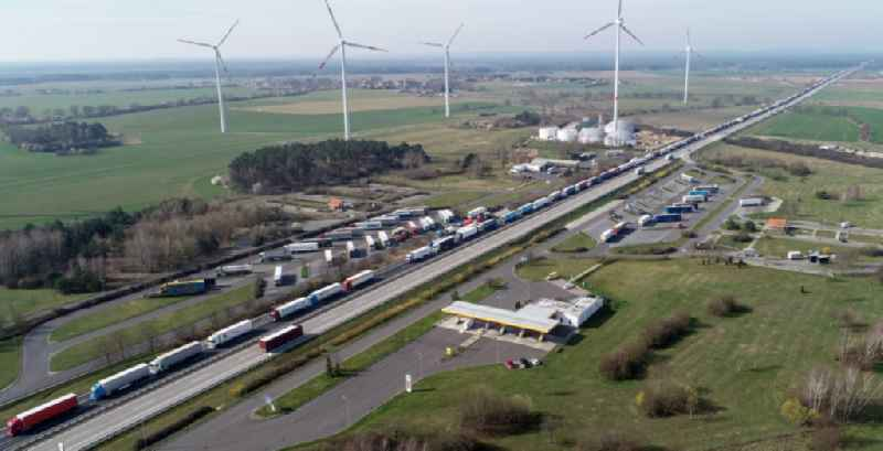 Lorries crowded in traffic jams in the lanes of the route of the motorway on Rastplatz of BAB A12 in Frankfurt (Oder) in the state Brandenburg, Germany