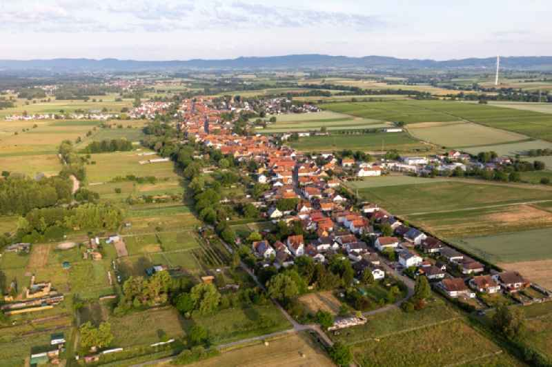 Village - view on the edge of agricultural fields and farmland in Freckenfeld in the state Rhineland-Palatinate, Germany