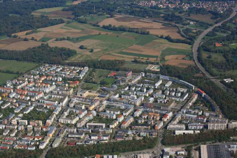 District Rieselfeld in the city in Freiburg im Breisgau in the state Baden-Wurttemberg. A new district Dietenbach is planned on the meadow area just beside.
