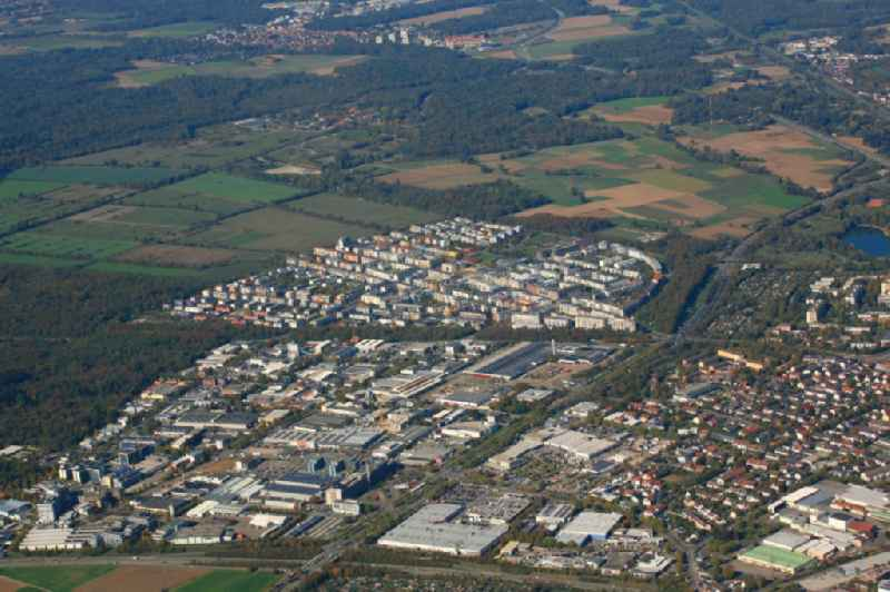Industrial and commercial area Haid, district Rieselfeld and behind it the planning area for the new district Dietenbach  in Freiburg im Breisgau in the state Baden-Wurttemberg, Germany.
