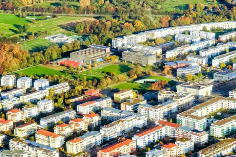 Residential area of the multi-family house settlement Rieselfeld in Freiburg im Breisgau in the state Baden-Wurttemberg, Germany.