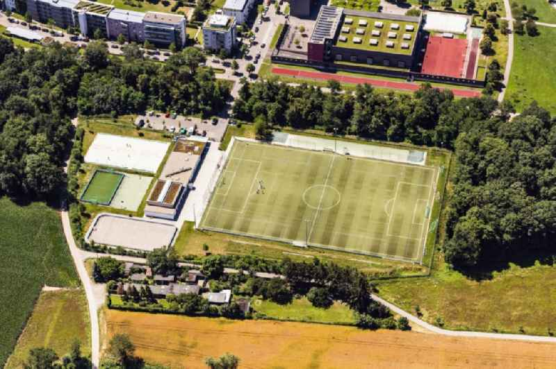 Sports grounds and football pitch ' of Sport vor Ort Rieselfeld e.V.und die Sepp-Glaser-Sporthalle ' in Freiburg im Breisgau in the state Baden-Wurttemberg, Germany.