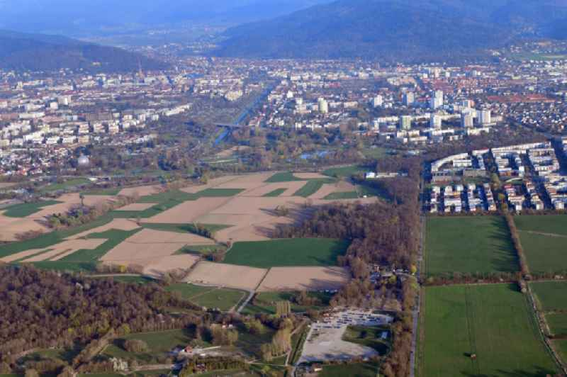 District Dietenbach will be buildt beside the district Rieselfeld (right) on the agricultural area in the city in Freiburg im Breisgau in the state Baden-Wurttemberg.