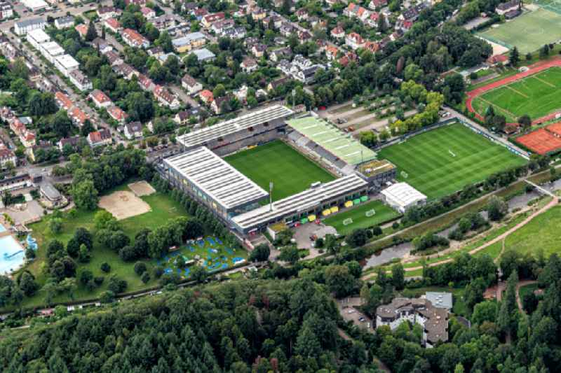 Football stadium, so called Schwarzwaldstadion, of FC Freiburg in Freiburg im Breisgau in the state Baden-Wurttemberg.